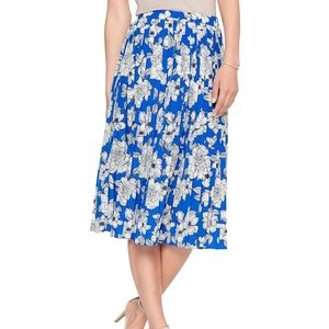 Banana Republic Blue & White Floral Pleated XS